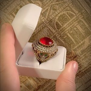 Jewelry - Ruby Emerald Solid 925 Sterling Silver Ring Sz 7.5